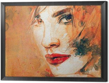 Tableau en Cadre Portrait de femme. aquarelle abstraite. mode arrière-plan