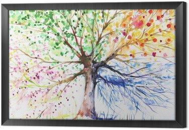 Tableau en Cadre Quatre arbres saison
