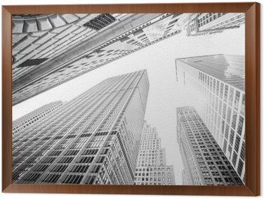 Tableau en Cadre Regarder vers le haut gratte-ciel de Manhattan, New York City, États-Unis