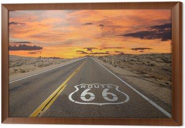 Tableau en Cadre Route 66 Pavement Connexion Sunrise désert de Mojave