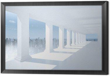 Tableau en Cadre Salle blanche et brillante avec des colonnes