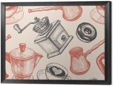 Tableau en Cadre Seamless est tout au sujet du café.