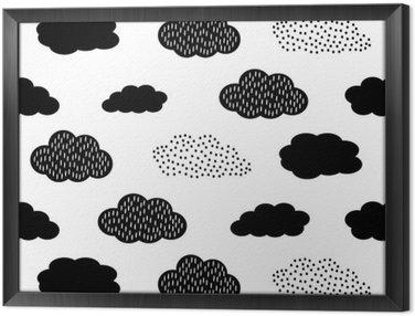 Tableau en Cadre Seamless noir et blanc avec des nuages. Cute baby douche vector background. style de dessin des enfants illustration.