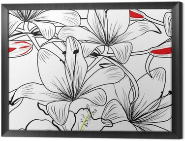 Tableau en Cadre Seamless pattern with white flowers lily