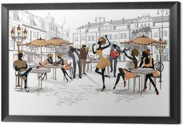 Tableau en Cadre Série de vues des rues de la vieille ville avec des cafés