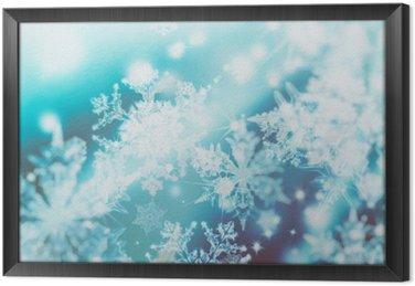 Tableau en Cadre Shimmering spots de flou sur fond abstrait. Motif de flocons de neige