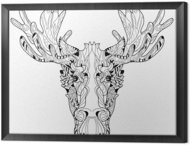 Tableau en Cadre Tête d'ornement de wapitis couches illustration vectorielle