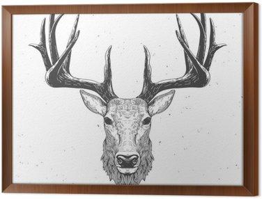 Tableau en Cadre Tête de cerf sur blanc