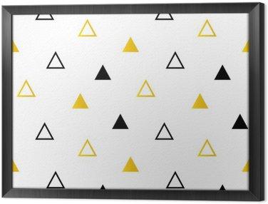 Tableau en Cadre Trendy triangles noir et or sur blanc seamless fond.