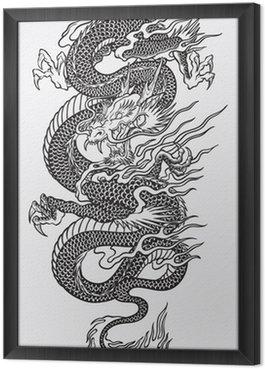 Tableau en Cadre Vecteur de dragon asiatique dessin au trait