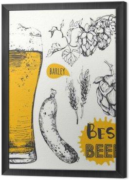 Tableau en Cadre Vector illustration de la bière et des saucisses. Menu Pub.
