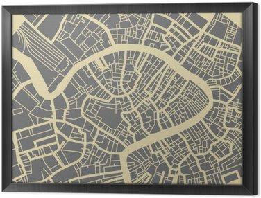 Tableau en Cadre Venise carte vectorielle. Monochrome base de design vintage pour carte Voyage, de la publicité, cadeau ou une affiche.