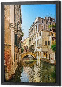 Tableau en Cadre Venise paysage urbain, bâtiments, eau du canal et le pont. Italie