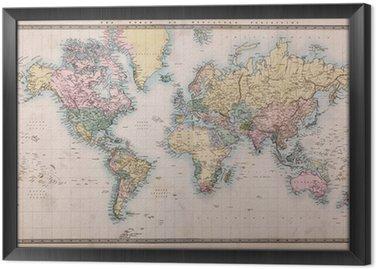 Tableau en Cadre Vieux Carte antique du monde sur la projection de Mercators
