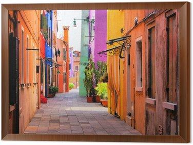 Tableau en Cadre Ville colorée in Italie