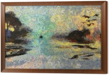 Tableau en Cadre Vivid Swirling Peinture des îles Coucher de soleil ou Sunrise