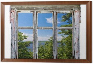 Tableau en Cadre Vue panoramique vu à travers un cadre de fenêtre vieux