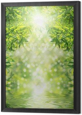 Tableau en Cadre Zen Bamboo Forest, le soleil et l'eau.