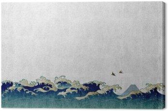 Tableau sur Toile 和風 背景 素材 大 波 と 渡 り 鳥