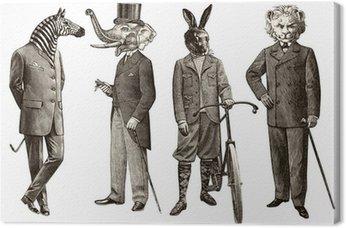 Tableau sur Toile 4 animaux hommes