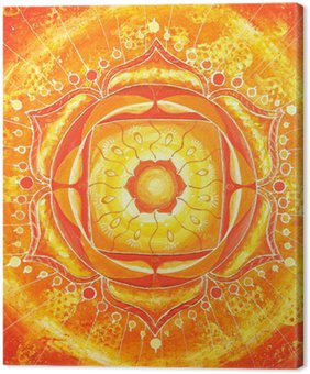 Tableau sur Toile Abstrait orange peint photo avec le modèle de cercle, mandala d'