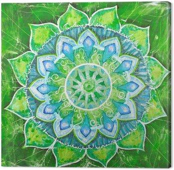 Tableau sur Toile Abstrait tableau peint en vert avec motif cercle, mandala d'un