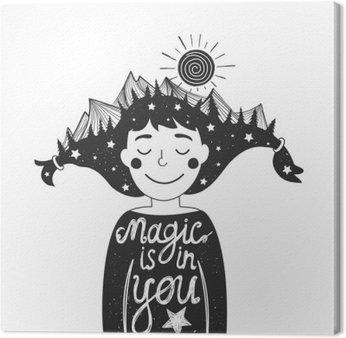 Tableau sur Toile Affiche de la typographie avec une fille et les montagnes dans les cheveux et devis