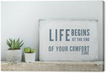 Tableau sur Toile Affiche de motivation de citation VIE COMMENCE À LA FIN DE ZONE DE CONFORT