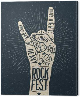 Tableau sur Toile Affiche du festival de rock, flyer. Vector hand draw illustration style.