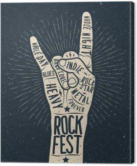 Tableau sur Toile Affiche du festival de rock, flyer. Vector hand draw illustration style.