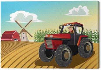 Tableau sur Toile Agriculteur conduisant un tracteur