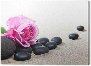 Tableau sur Toile Ambiance zen - Rose et Pierres Noires
