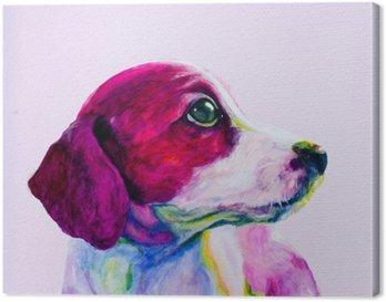 Tableau sur Toile Amis Portrait d'un jeune chien, chiot dans des couleurs au néon. Regarder et la nostalgie de l'attention