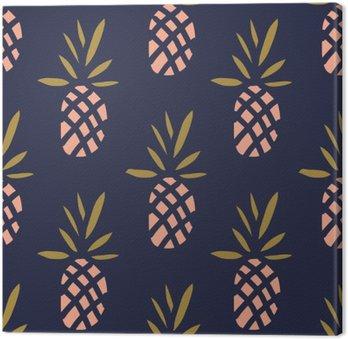 Tableau sur Toile Ananas sur le fond sombre. Vector seamless pattern avec des fruits tropicaux.