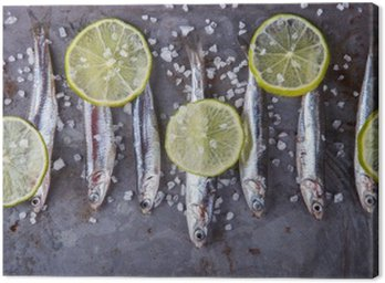 Tableau sur Toile Anchois frais Fish.Appetizer Marine. mise au point sélective.