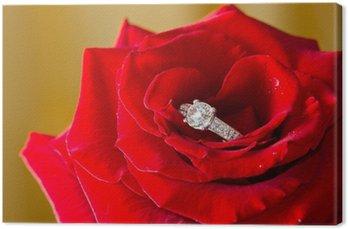Tableau sur Toile Anneau de diamant d'or et rose