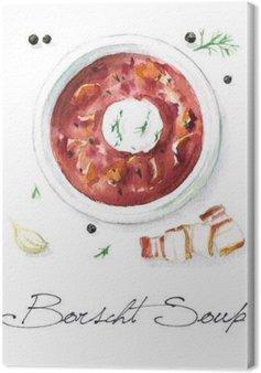 Tableau sur Toile Aquarelle Alimentation - Soupe Bortsch