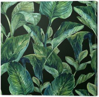 Tableau sur Toile Aquarelle Seamless avec des feuilles tropicales