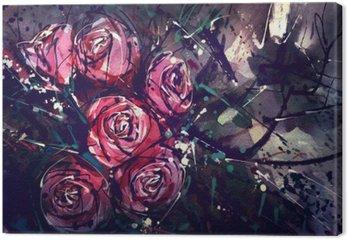 Tableau sur Toile Aquarelle style peinture roses art abstrait.