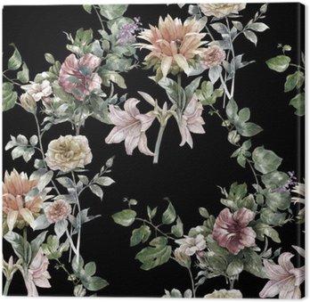 Tableau sur Toile Aquarelle sur papier des feuilles et des fleurs, motif sans couture sur fond sombre,