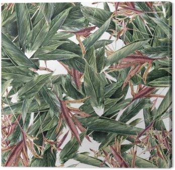 Tableau sur Toile Aquarelle sur papier des feuilles et des fleurs, motif sans couture