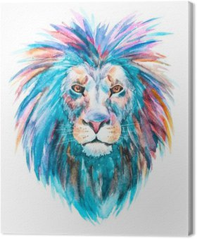 Tableau sur Toile Aquarelle vecteur lion