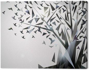 Tableau sur Toile Arbre abstrait avec des oiseaux en origami.