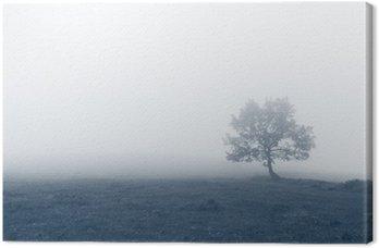 Tableau sur Toile Arbre solitaire avec le brouillard