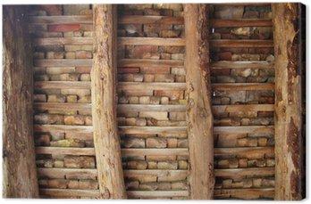 Tableau sur Toile Argile tuiles toit Indor tuiles carrés de poutres en bois