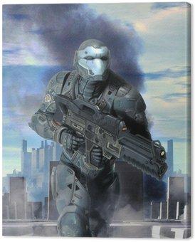 Tableau sur Toile Armure soldat futuriste en guerre