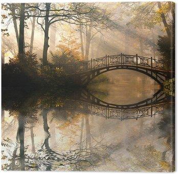 Tableau sur Toile Automne - Vieux pont en automne brumeux parc