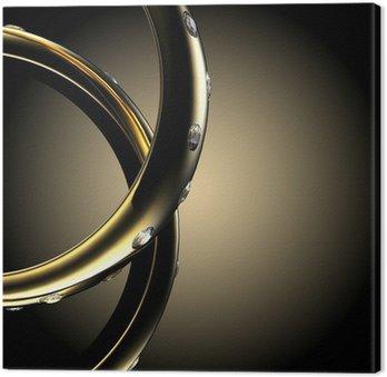 Tableau sur Toile Bague de fiançailles en or avec diamant. symbole de vacances