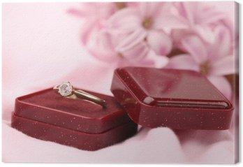 Tableau sur Toile Bague de fiançailles en or avec diamant