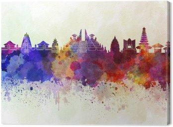 Tableau sur Toile Bali skyline en fond d'aquarelle